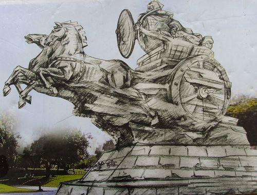雕塑手绘设计稿